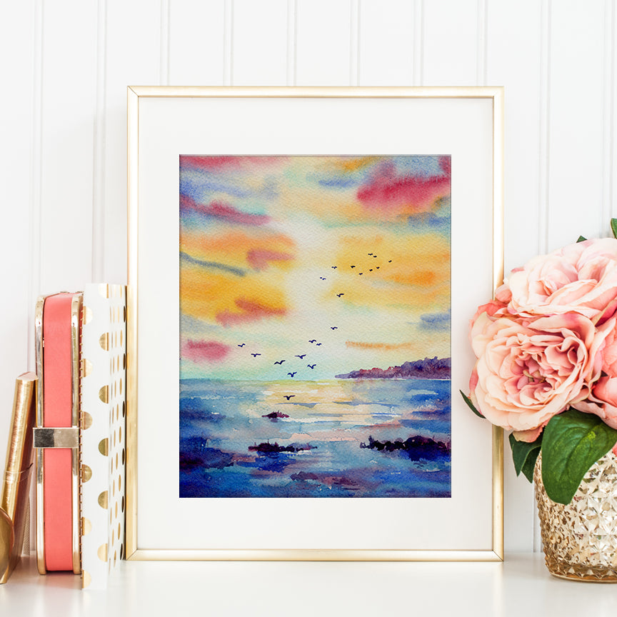 This is digital art print of hand painted watercolor painting ocean sunset. It is purple themed ocean sunset scene. It is ideal for kitchen decor and wall art, or making greeting cards and printable.