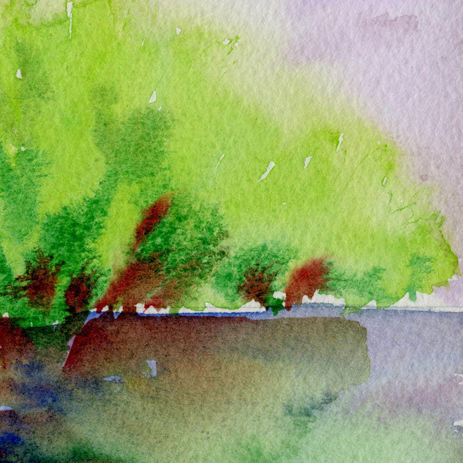 watercolor abstract painting of lake and woodland, digital print, instant download