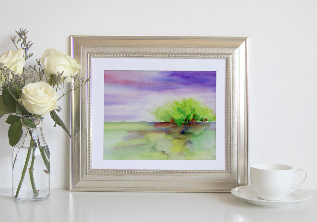 Watercolor painting of lake and wood, abstract painting, instant download