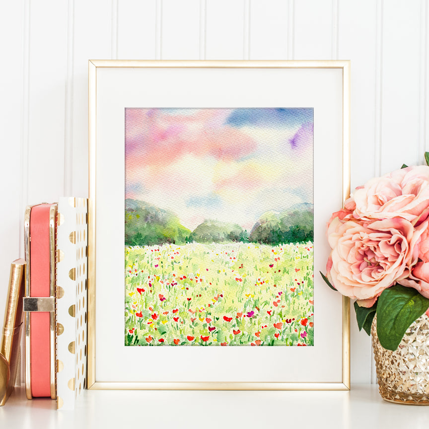 watercolor floral meadow, poppy meadow, instand download