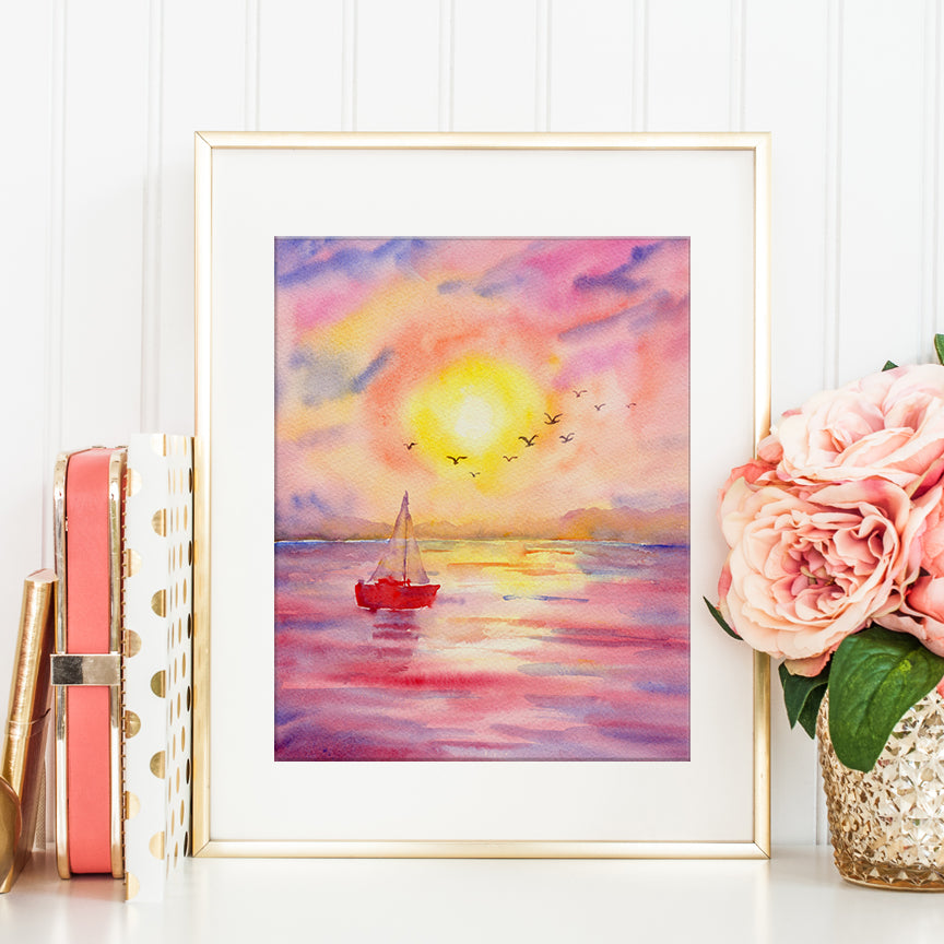 watercolor painting of sunset at sea with distant birds and red sailing boat, instant download