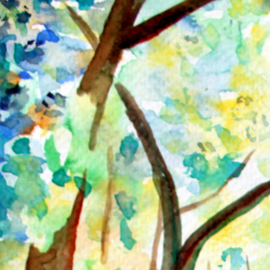 watercolor woodland, green wood, digital print,