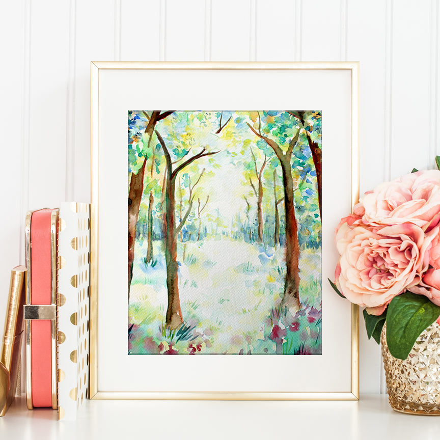 watercolor painting woodland, spring woodland, summer woodland, digital print