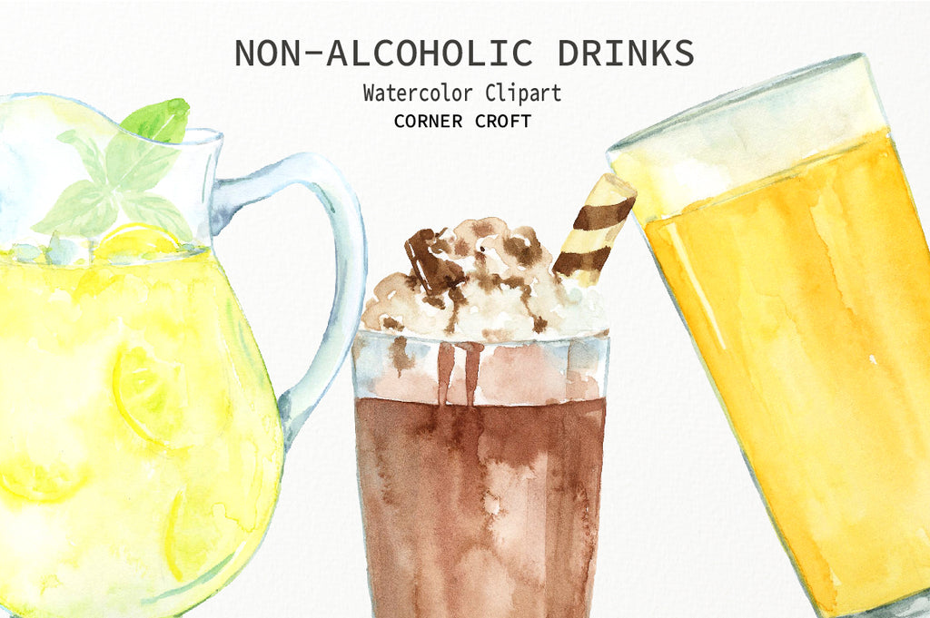 detailed illustration of watercolor drink clipart, instant download, water, milk, juice, lemonade,
