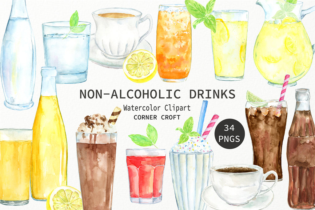 watercolor illustration non alcoholic drinks, soft drink, fizzy drink, water, milk, baby bottle, baby beaker