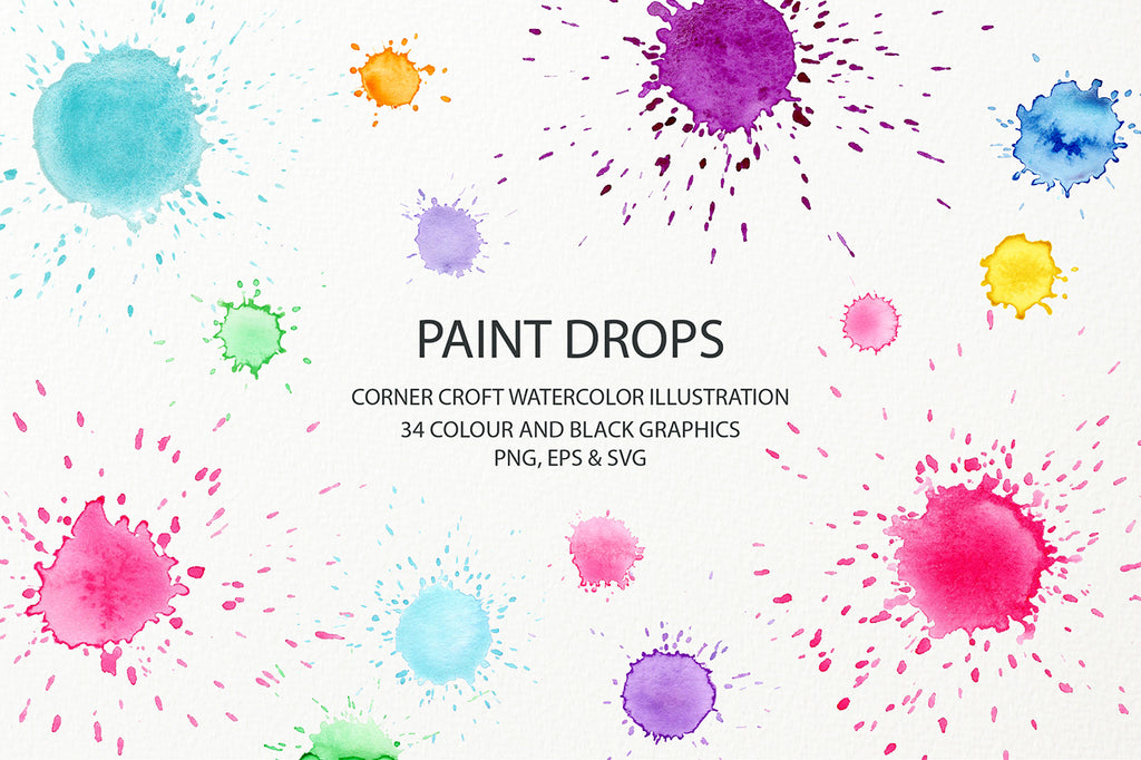 watercolor pastel color paint drop effect, svg, png, eps, graphics design asset