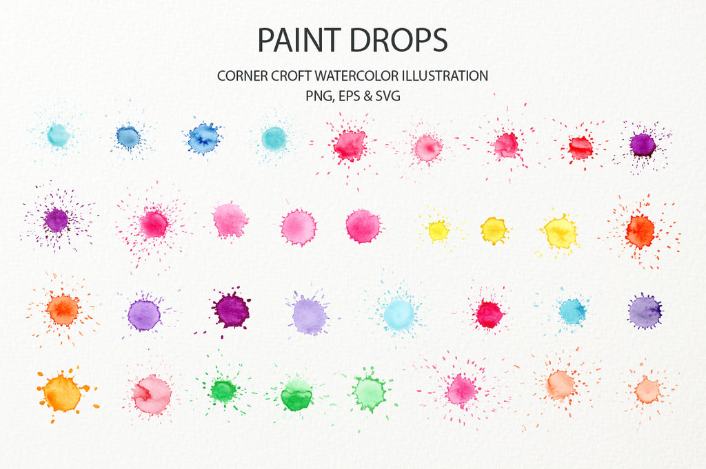 watercolor paint drop with paint splatter effect, svg, png, eps,