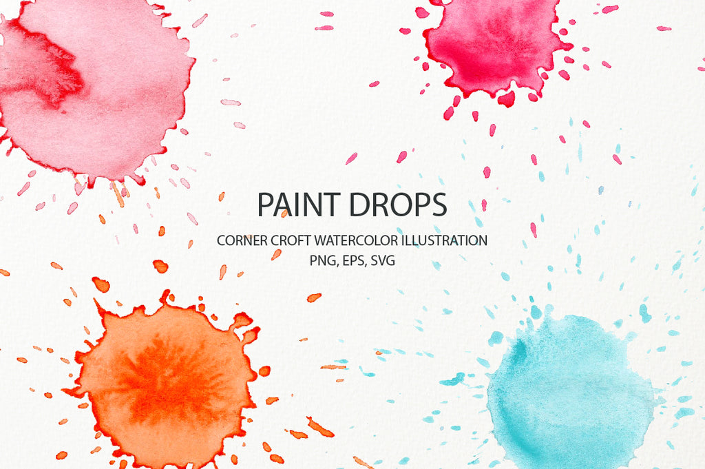 pink paint drop, green paint drop and blue paint drop instant download