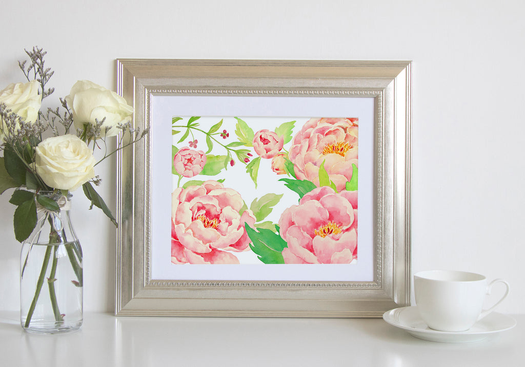 watercolor peach peony print, floral frame printable