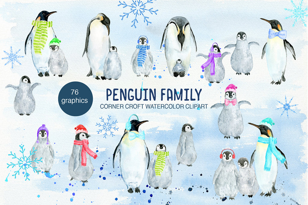 penguin clipart, instant download, watercolor penguin family illustration,