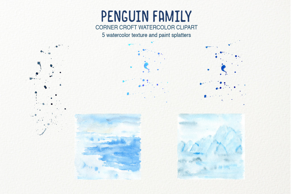 watercolor blue texture for watercolor penguin clipart, instant download, personalised print creator