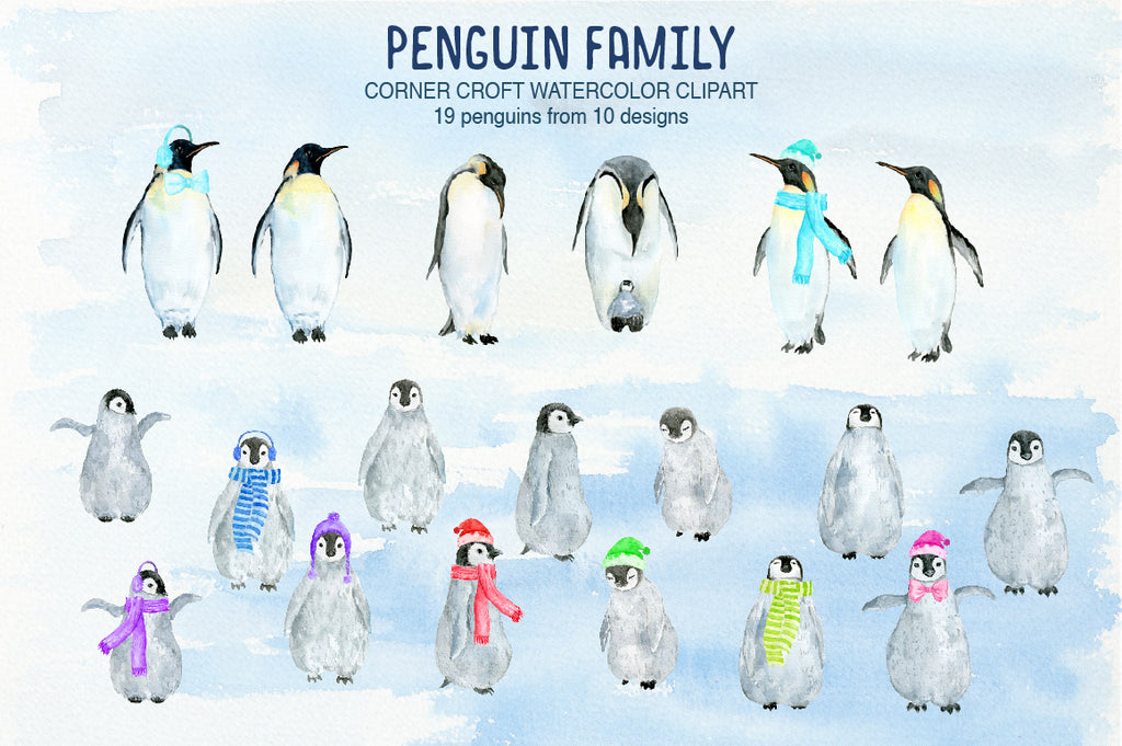 watercolor penguin clipart, instant download, personalised print creator, instant download