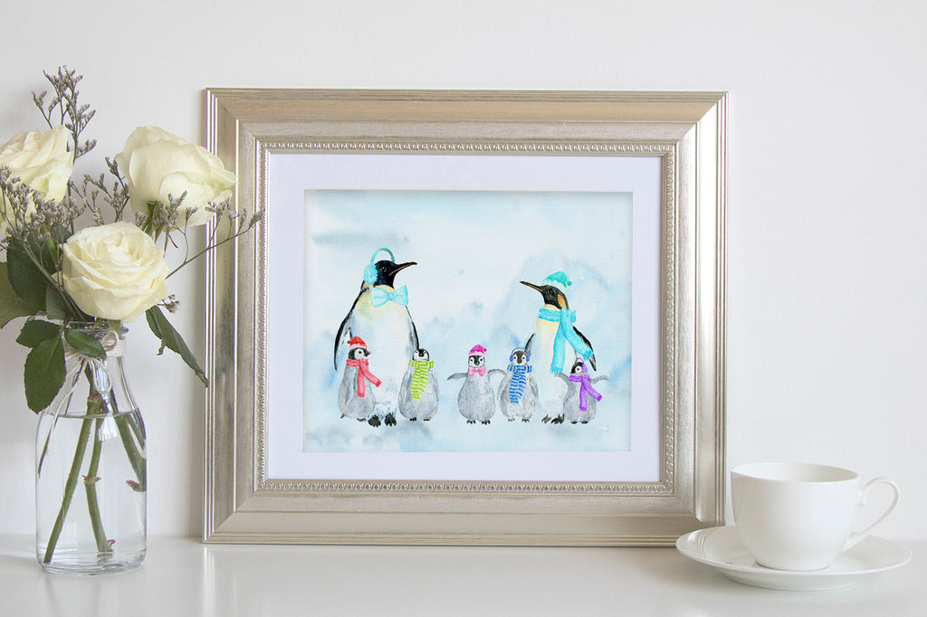 penguin family print, instant download, watercolor penguin family.