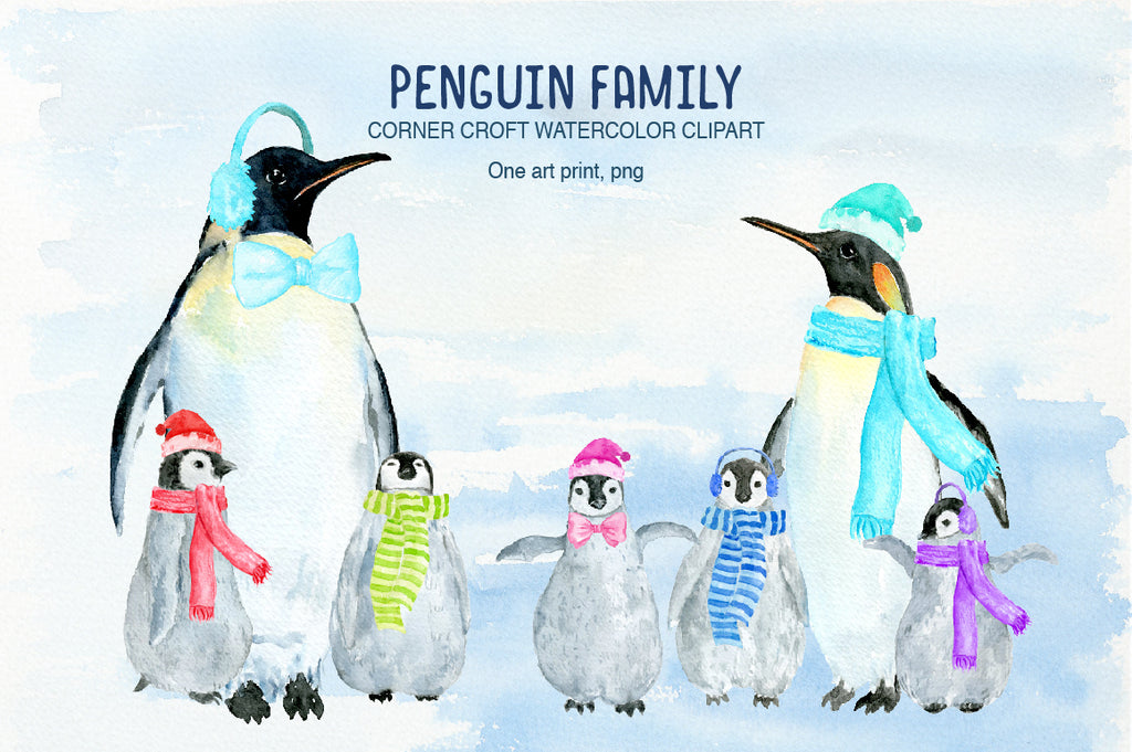 watercolor penguin illustration, penguin family illustration, instant download