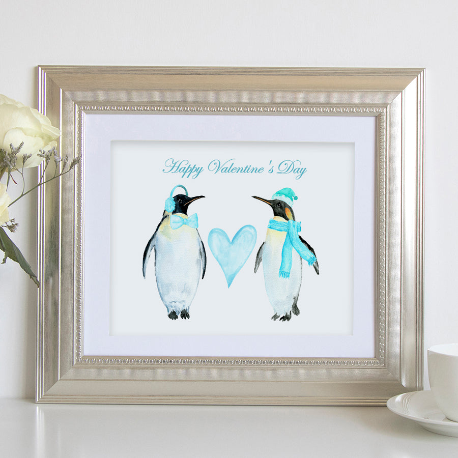 "watercolor 2 penguin print, ""happy valentine day"", penguins and heart"