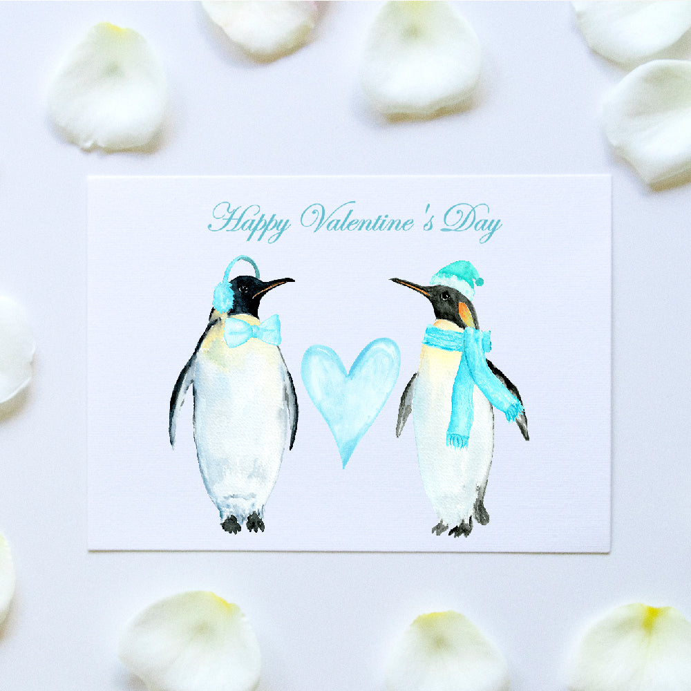 watercolor penguin love valentine card and print, editable template, templett app