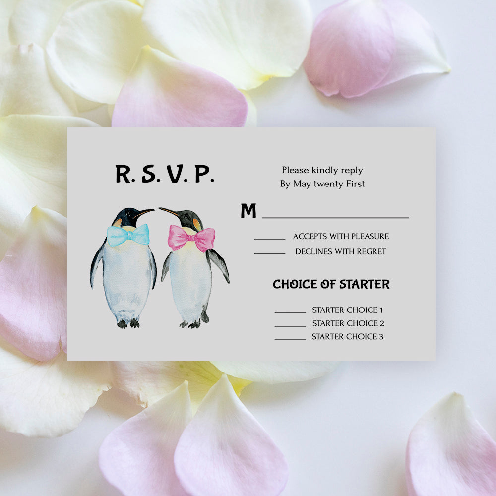 editable gay wedding RSVP card template with penguin graphics, watercolor penguin, templett app