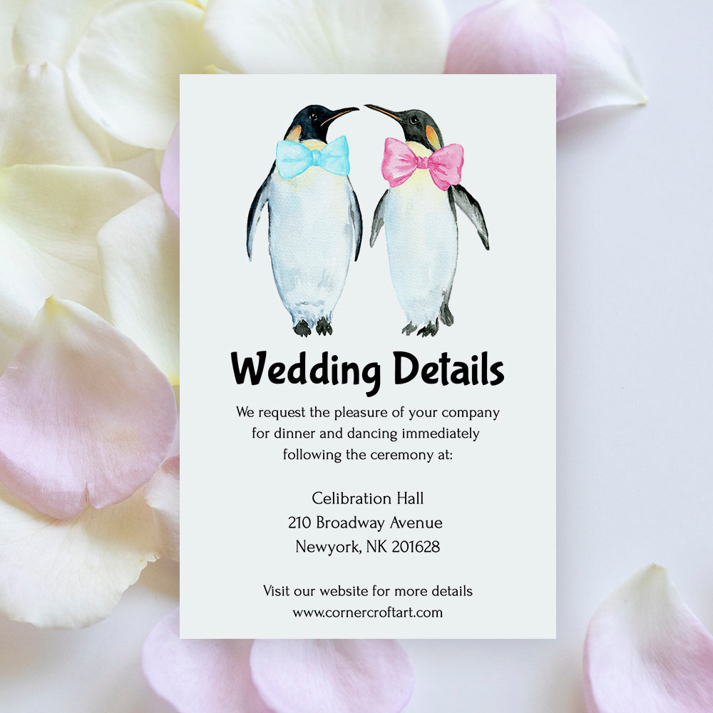 wedding details template with watercolor penguin images editable in Templett app