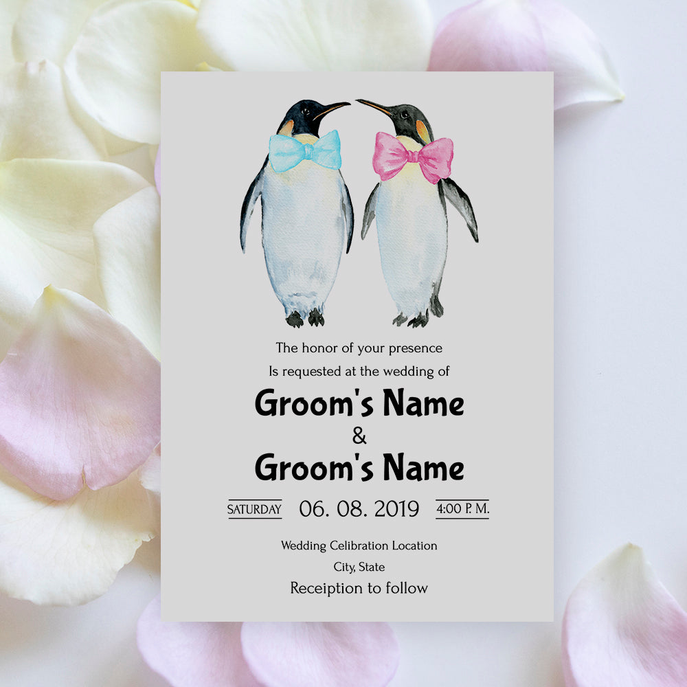 editable gay wedding invitation 5x7 template with watercolor penguin illustration using templett app.