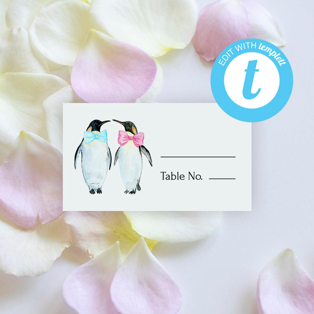 wedding place card with penguin graphics, editable template, gay wedding place card template editable in Templett app