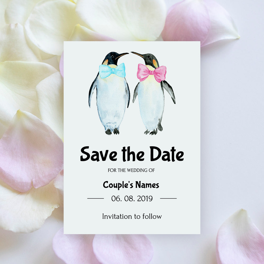 editable wedding Save the Date card template with watercolor penguin graphics, templett app, instant download