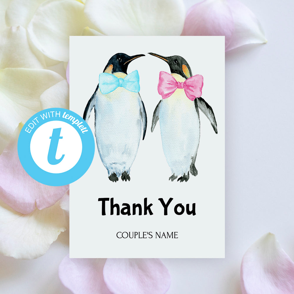 editable wedding thank you card template with watercolor penguin graphics, gay wedding invitation, penguin with bow tie