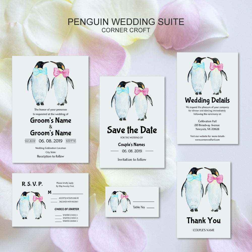 editable wedding suite with penguin graphics, gay wedding template editable in templett app