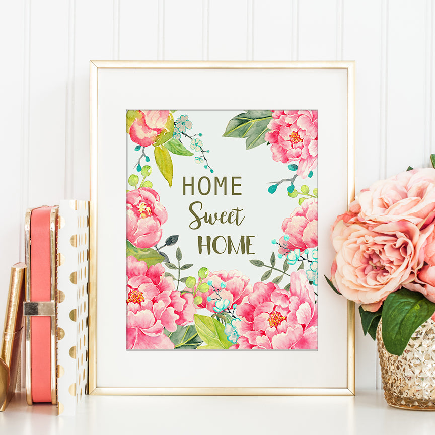 Watercolor Pink Peony Home Sweet Home Typography Digital Download