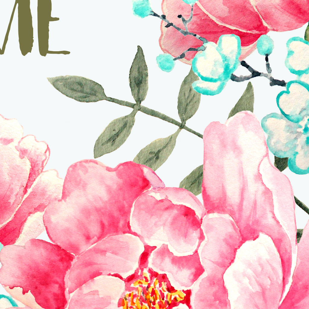Typography Home Sweet Home with watercolor floral background of pink peony flowers