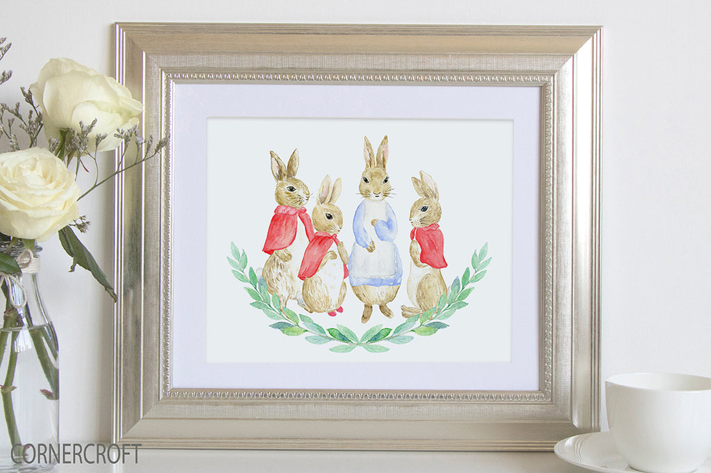 Personalised family print, rabbit print, watercolor rabbit illustration