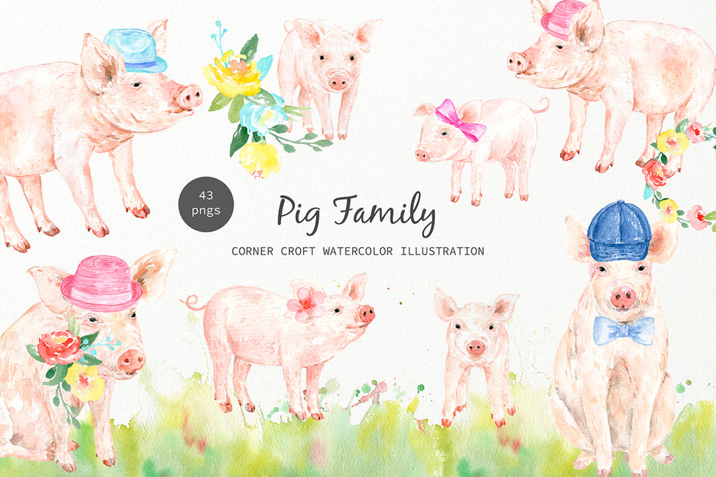 watercolor pig family illustration, cute piglet, for creating personalised prints