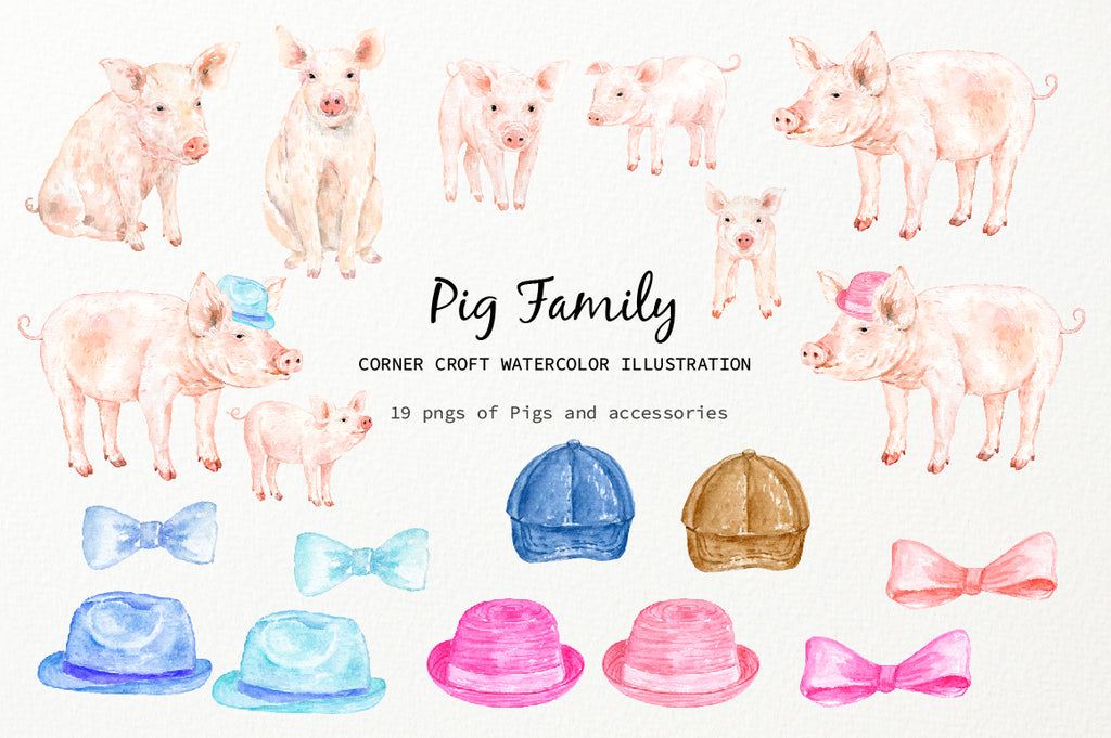 watercolor farm animal pigs, boar, sow and piglet, digital download