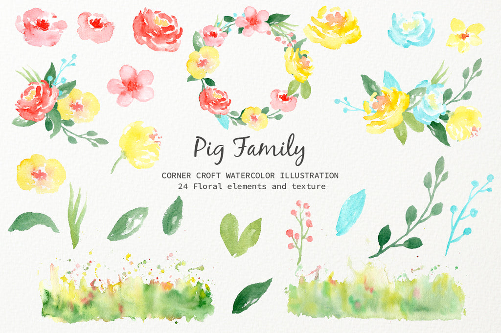 watercolour pig clipart, pink and yellow flower decoration