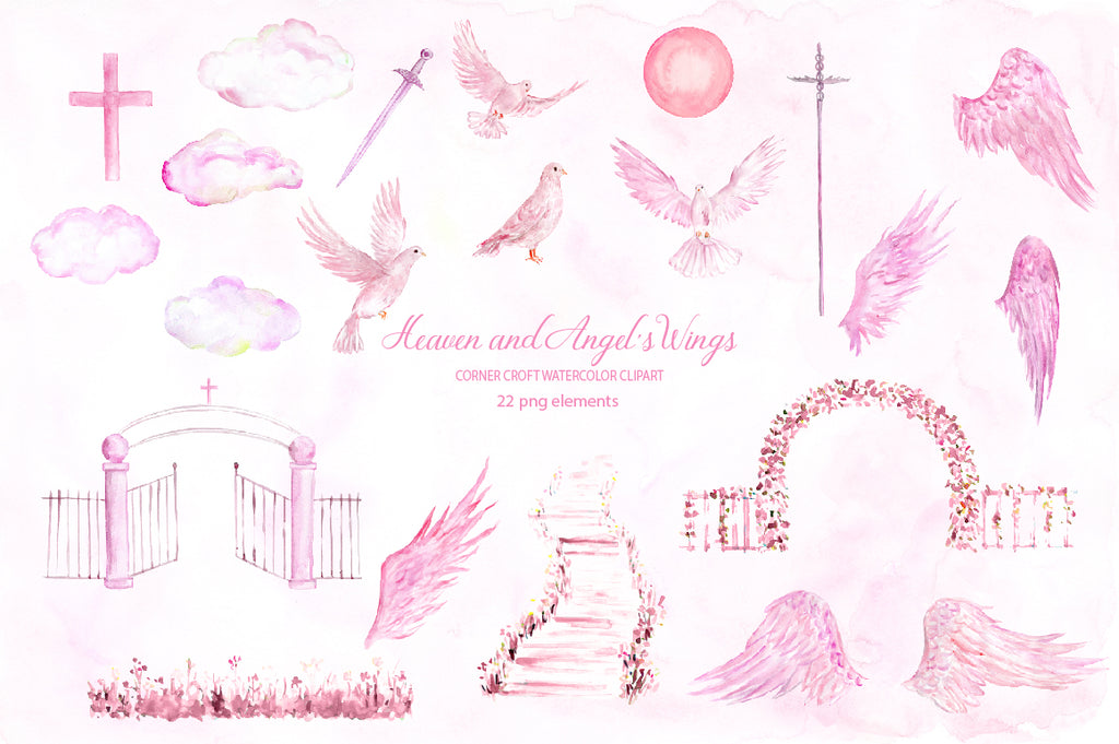 watercolor pink heaven clipart, nursery clipart, angel's wing graphics, instant download