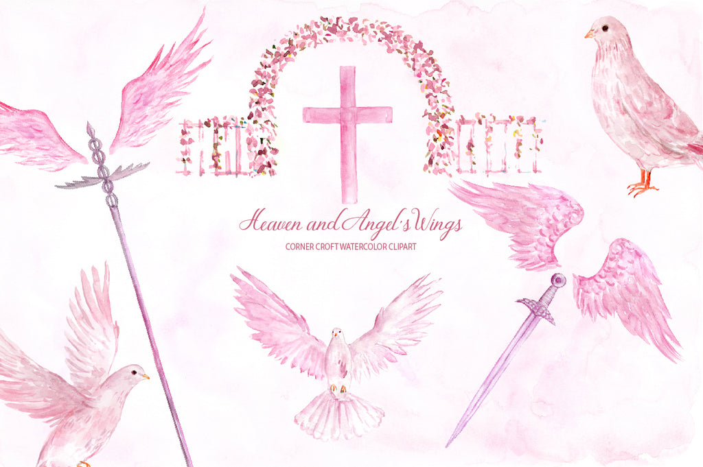 heaven clipart, watercolor heaven illustration, pink heaven, pink wing