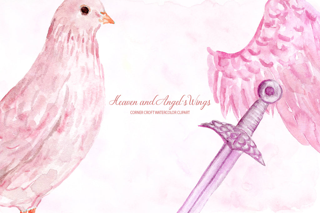 pink dove, heaven, pink angel's wing, instant download