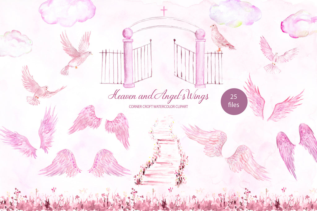 watercolor pink angel's wings, pink heaven, pink dove, instant download