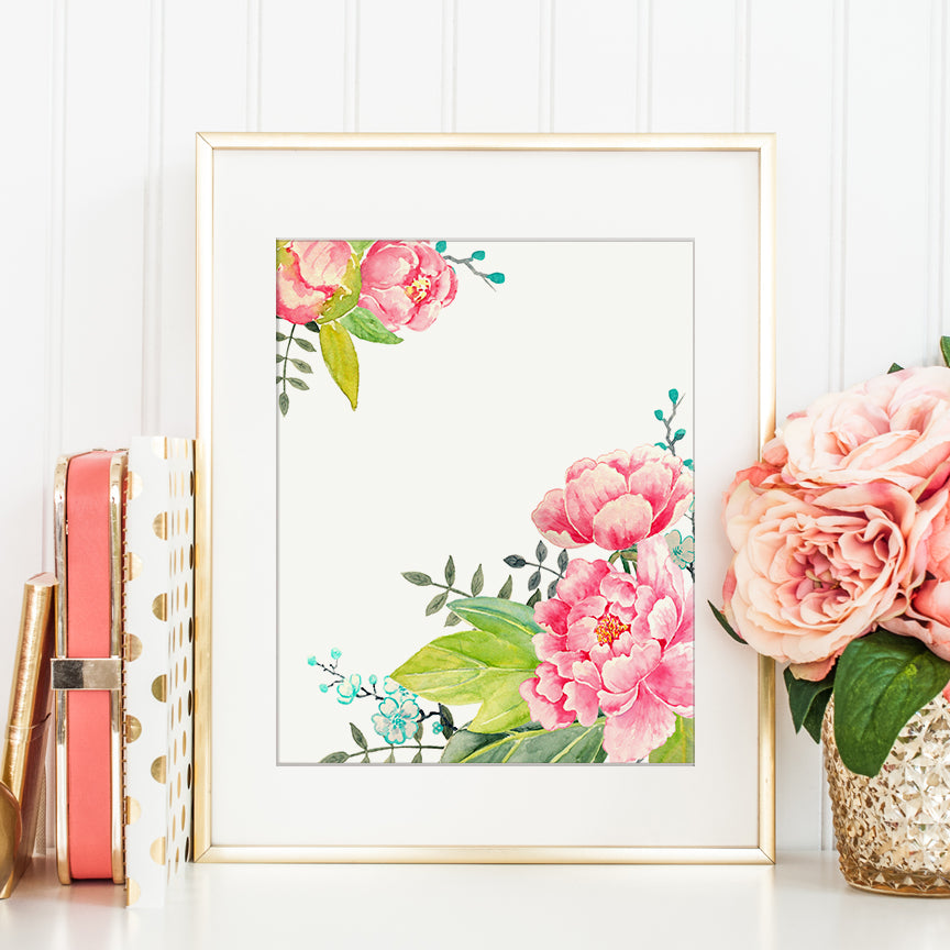 watercolor pink peony floral frame, printable