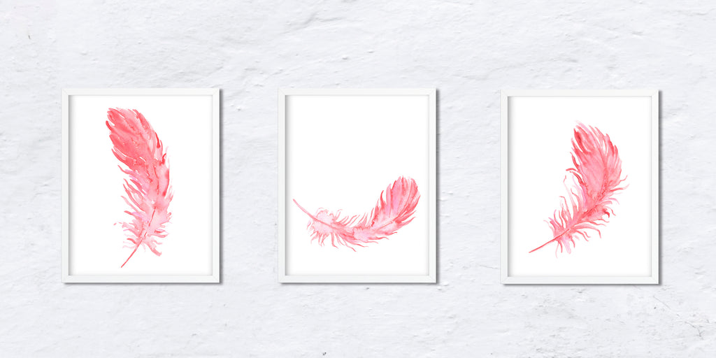 Group of 3 pink feathers, watercolor feathers, feather illustration, boho feathers