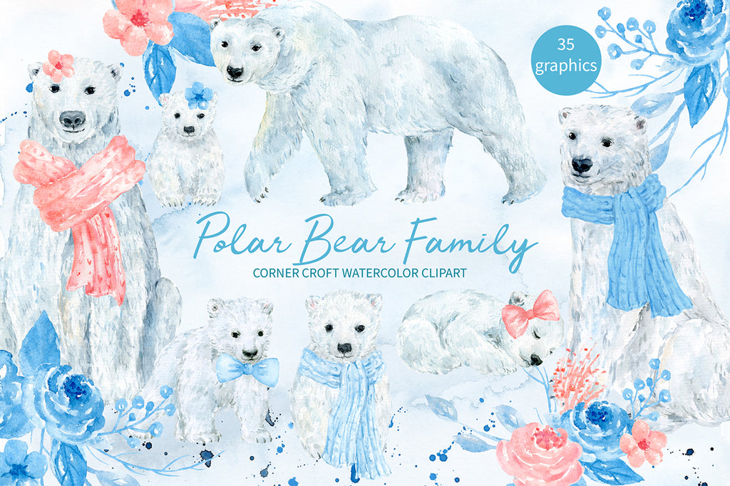 watercolor polar bear clipart, polar bear family, adult bear and cub, wooly scarf, instant download