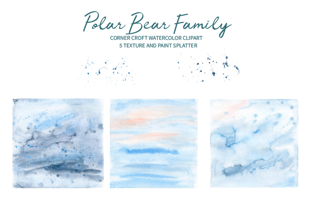 watercolor texture, instant download, watercolor polar bear family illustration