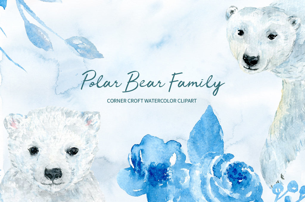 watercolor polar bear illustration, wildlife clipart, instant download