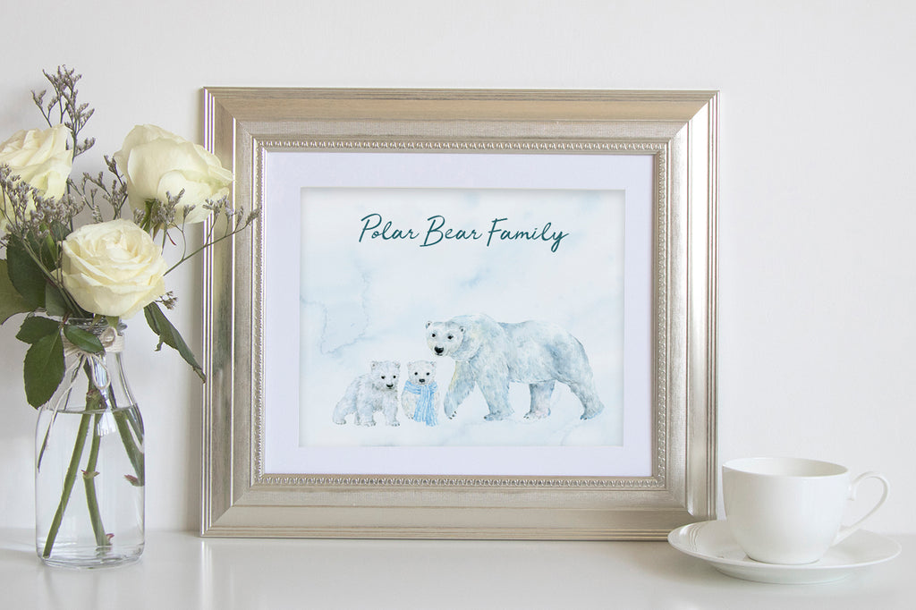 create personalised print with watercolor polar bear family clipart, instant download