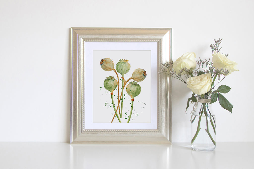 watercolor print, digital download, corner croft art print, dry seed pods, poppy