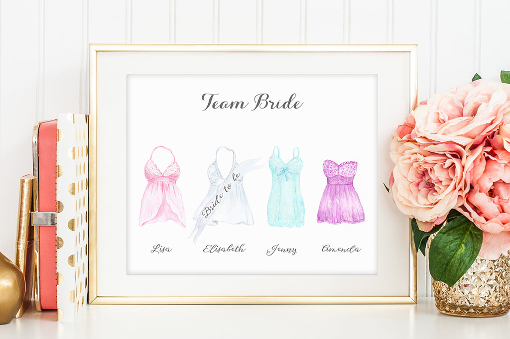 bridal shower personalised print, hen do clipart, instant download