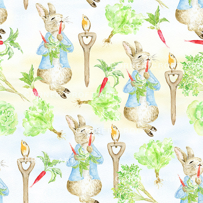 "Watercolor Digital Paper Cumbria Rabbit Inspired by ""the Tale of Peter Rabbit"""