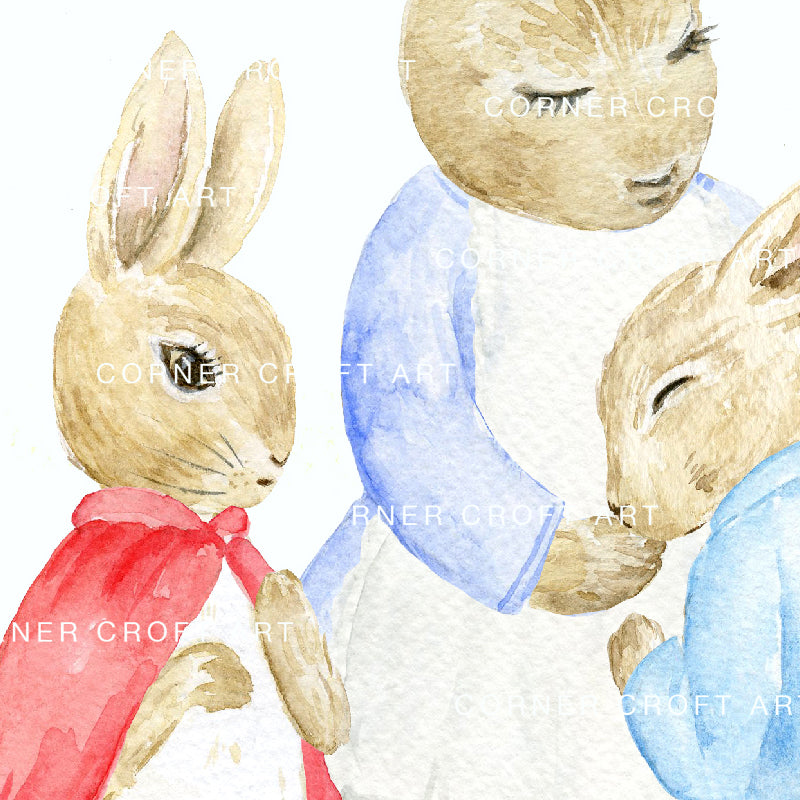 "Watercolor Digital Paper Cumbria Rabbit, Mum and Sisters inspired by ""The Tale of Peter Rabbit"""
