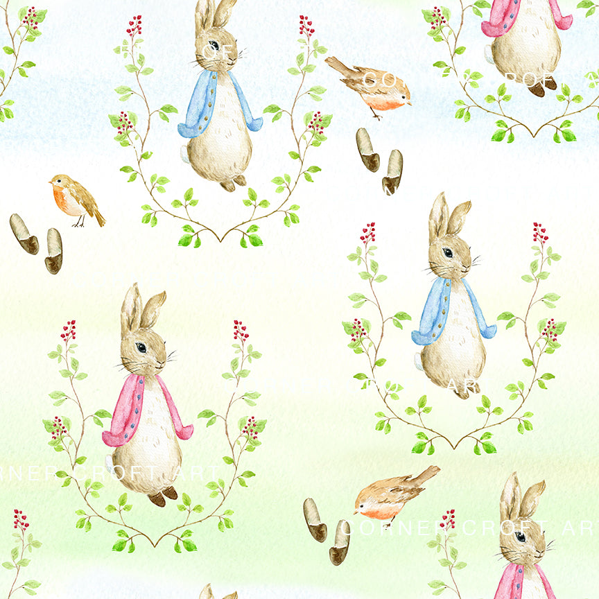 "Watercolor Cumbria Rabbit Pattern Inspired by Beatrix Potter Illustration ""The Tale of Peter Rabbit"""