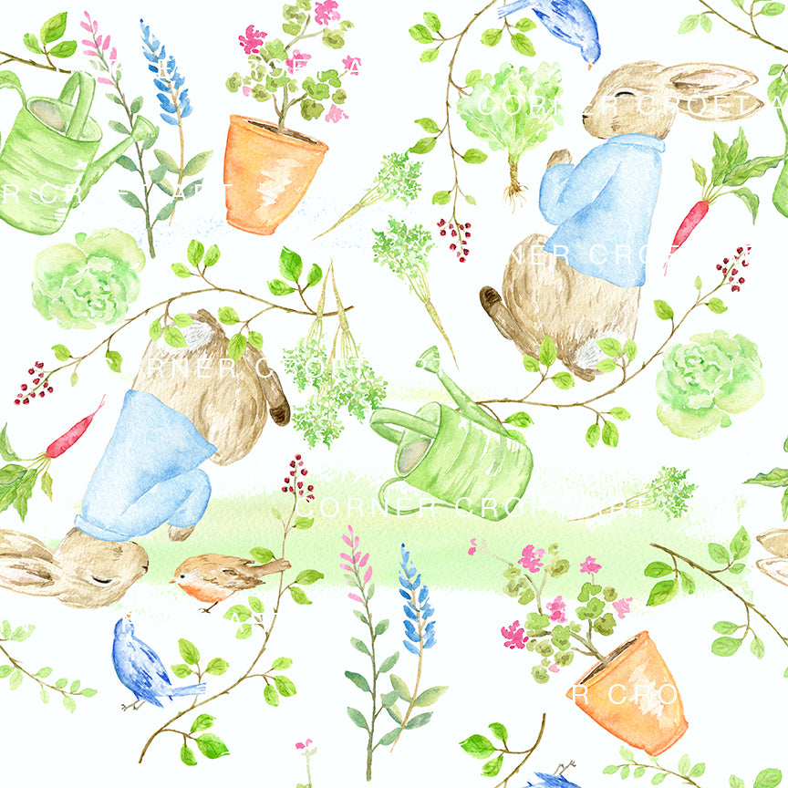 "Watercolor Sleeping Rabbit Pattern Printable Inspired by ""The Tale of Peter Rabbit"""