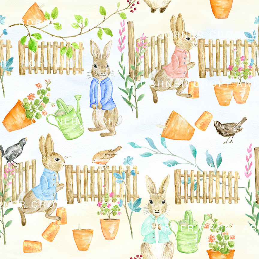 "Watercolor digital paper Cumbria Rabbit playing in the garden inspired by Beatrix Potter's illustration ""The Tale of Peter Rabbit"""